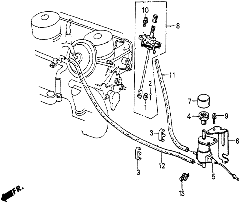 1984 prelude DX 2 DOOR 5MT A/C VALVE - TUBING (DX) diagram