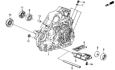 1986 crx DX 2 DOOR 4AT 4AT TORQUE CONVERTER HOUSING diagram