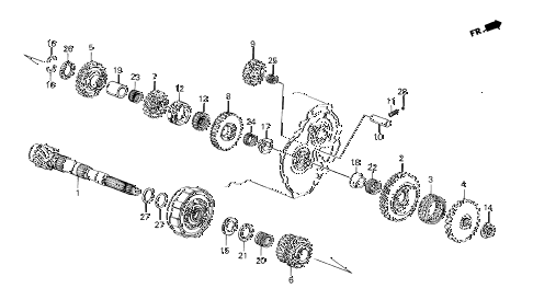 1986 crx DX 2 DOOR 4AT 4AT COUNTERSHAFT diagram
