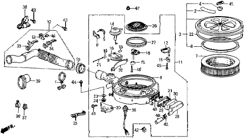 1985 crx DX 2 DOOR 3AT AIR CLEANER diagram