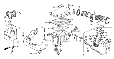 1987 crx SI 2 DOOR 5MT AIR CLEANER (PGM-FI) diagram