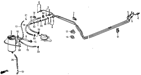 1986 crx DX 2 DOOR 5MT FUEL PIPE diagram