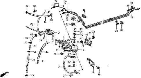 1987 crx SI 2 DOOR 5MT FUEL PIPE (PGM-FI) diagram