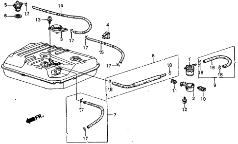 1987 crx DX 2 DOOR 5MT FUEL STRAINER diagram