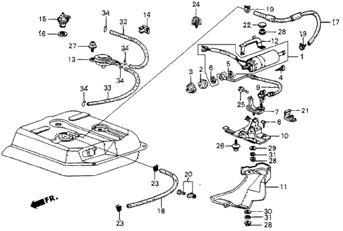 1987 crx SI 2 DOOR 5MT FUEL PUMP (PGM-FI) diagram