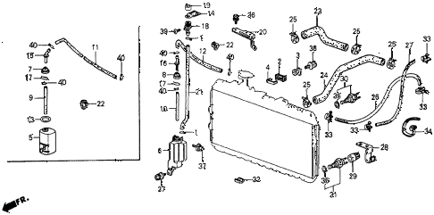 1984 crx DX 2 DOOR 5MT RADIATOR HOSE diagram