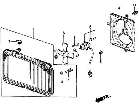 1986 crx DX 2 DOOR 4AT RADIATOR (TOYO) diagram