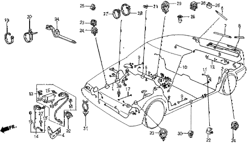 1984 crx DX 2 DOOR 5MT WIRE HARNESS diagram