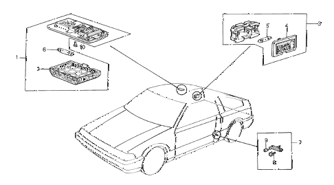 1985 crx DX 2 DOOR 5MT INTERIOR LIGHT diagram