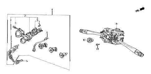 1987 crx DX 2 DOOR 4AT STEERING WHEEL SWITCH diagram
