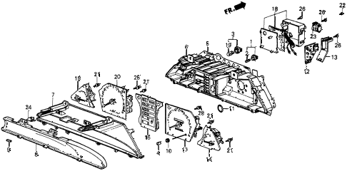 1985 crx HF 2 DOOR 5MT METER COMPONENTS (DENSO) diagram