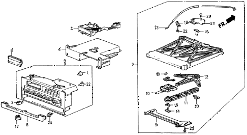 1987 crx DX 2 DOOR 5MT HEATER CONTROL diagram