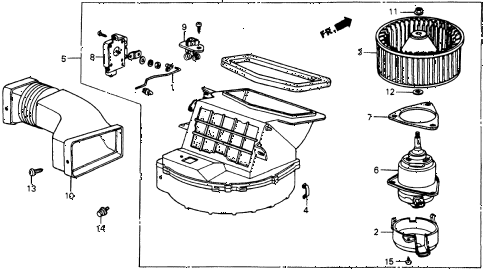 1987 crx DX 2 DOOR 5MT HEATER BLOWER diagram