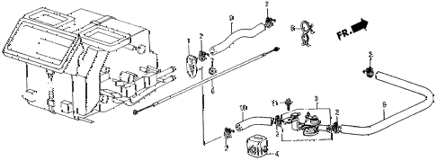 1987 crx SI 2 DOOR 5MT WATER VALVE - HOSE diagram