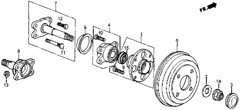 1987 crx SI 2 DOOR 5MT REAR BRAKE DRUM diagram