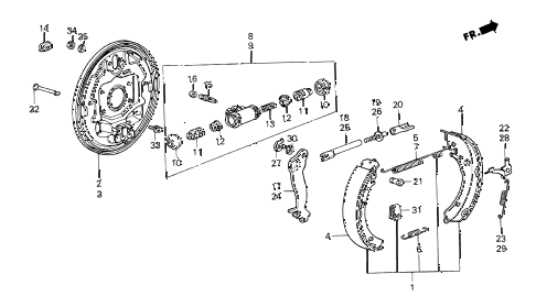 1985 crx DX 2 DOOR 5MT REAR BRAKE SHOE diagram