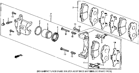 1985 crx HF 2 DOOR 5MT FRONT BRAKE CALIPER (1) diagram