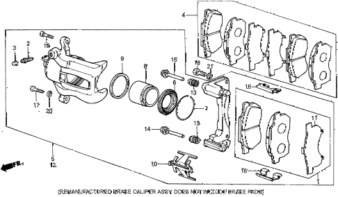1987 crx DX 2 DOOR 4AT FRONT BRAKE CALIPER (2) diagram