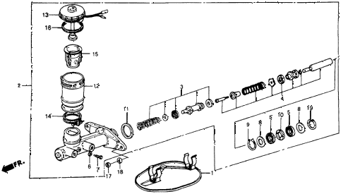 1986 crx DX 2 DOOR 5MT MASTER CYLINDER diagram