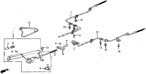 1987 crx SI 2 DOOR 5MT PARKING BRAKE diagram