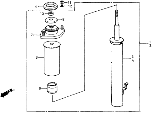 1987 crx DX 2 DOOR 5MT FRONT SHOCK ABSORBER diagram