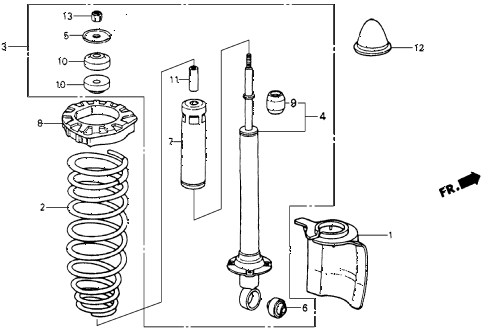 1985 crx HF 2 DOOR 5MT REAR SHOCK ABSORBER diagram