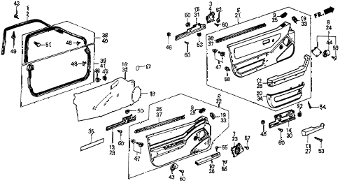 1985 crx DX 2 DOOR 5MT FRONT DOOR LINING diagram