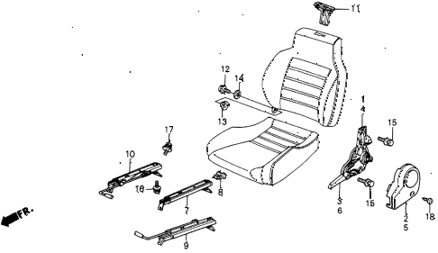 1985 crx DX 2 DOOR 5MT FRONT SEAT COMPONENTS diagram