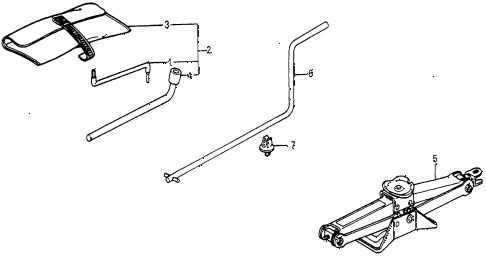 1985 crx HF 2 DOOR 5MT TOOLS - JACK diagram