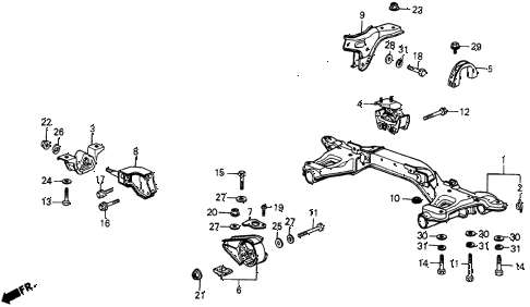 1985 crx DX 2 DOOR 5MT ENGINE MOUNT diagram