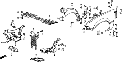 1987 crx SI 2 DOOR 5MT FRONT FENDER diagram