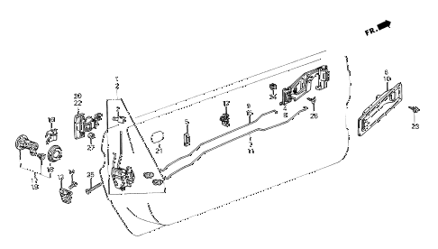 1986 crx DX 2 DOOR 4AT DOOR LOCK diagram