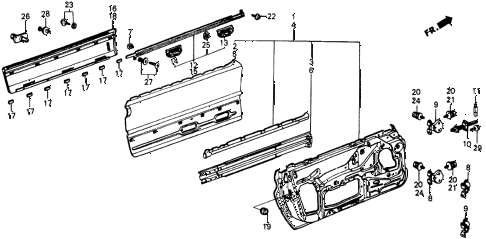 1985 crx DX 2 DOOR 3AT DOOR PANEL diagram