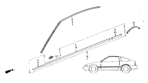 1986 crx DX 2 DOOR 5MT SIDE PROTECTOR diagram