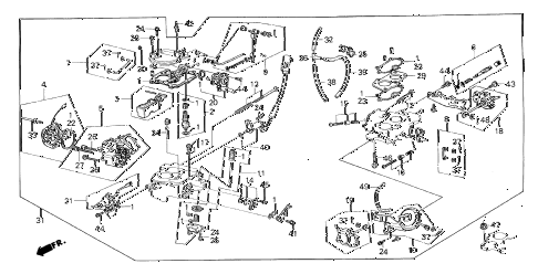 1984 crx DX 2 DOOR 5MT CARBURETOR diagram