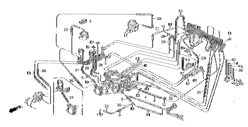 1986 crx DX 2 DOOR 4AT FUEL TUBING (1) diagram
