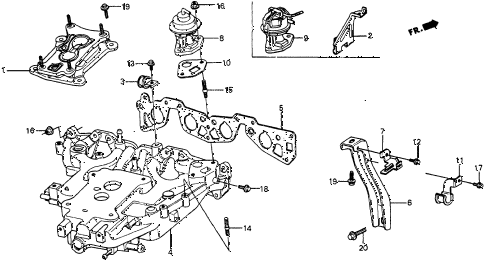 1986 crx DX 2 DOOR 4AT INTAKE MANIFOLD diagram