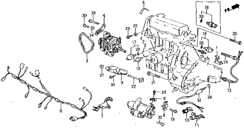 1985 crx HF 2 DOOR 5MT ALTERNATOR BRACKET diagram