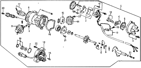 1987 crx SI 2 DOOR 5MT DISTRIBUTOR (PGM-FI) (TEC) diagram