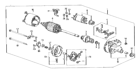 1985 crx DX 2 DOOR 5MT STARTER MOTOR (0.8 KW/ND) diagram