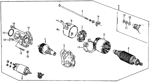 1986 crx DX 2 DOOR 5MT STARTER MOTOR (MITSUBA) diagram