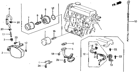 1984 crx DX 2 DOOR 5MT BREATHER TUBE - OIL FILTER diagram