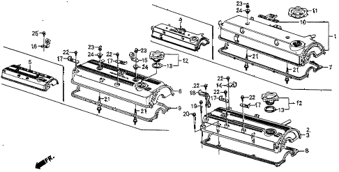 1986 crx DX 2 DOOR 4AT CYLINDER HEAD COVER diagram