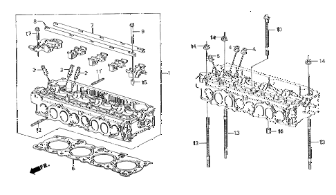 1985 crx DX 2 DOOR 3AT CYLINDER HEAD diagram