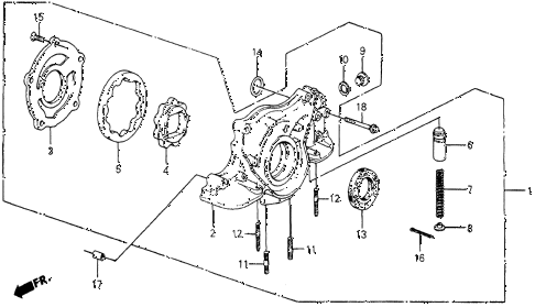 1985 crx DX 2 DOOR 3AT OIL PUMP diagram