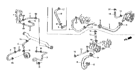 1985 crx HF 2 DOOR 5MT WATER HOSE - TUBE CLIP diagram