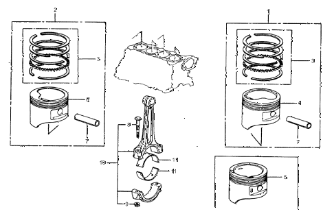 1987 crx DX 2 DOOR 5MT PISTON - CONNECTING ROD diagram