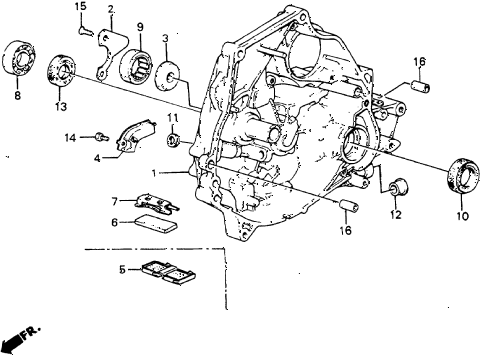 1986 crx DX 2 DOOR 5MT MT CLUTCH HOUSING diagram