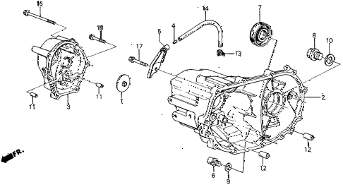 1987 crx SI 2 DOOR 5MT MT TRANSMISSION HOUSING diagram