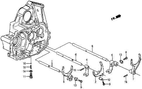 1986 crx DX 2 DOOR 5MT MT SHIFT FORK diagram